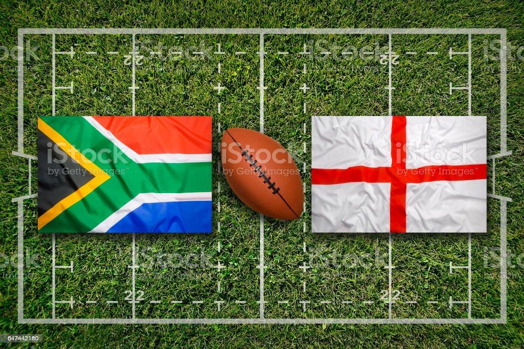 Südafrika vs. England Fahnen auf Rugby-Feld – Foto