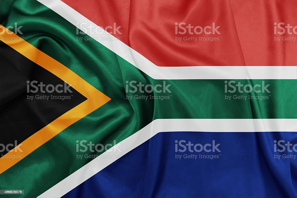 South Africa - Waving national flag on silk texture stock photo