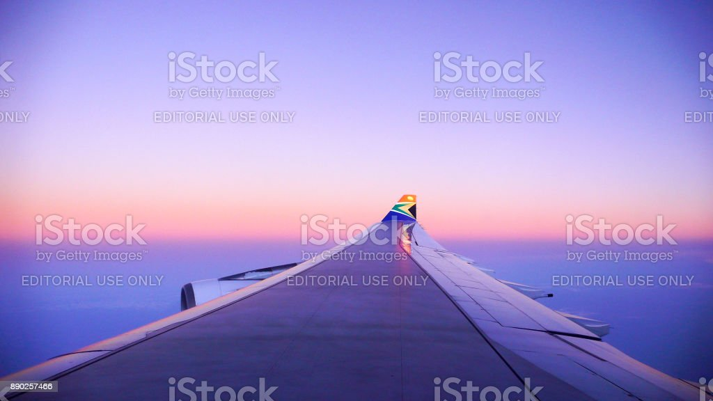 South African Airlines logo on Airbus winglet stock photo