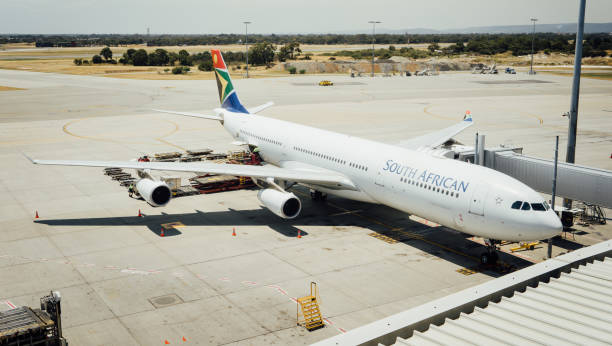 South African Airways Airbus A340 taxies stock photo