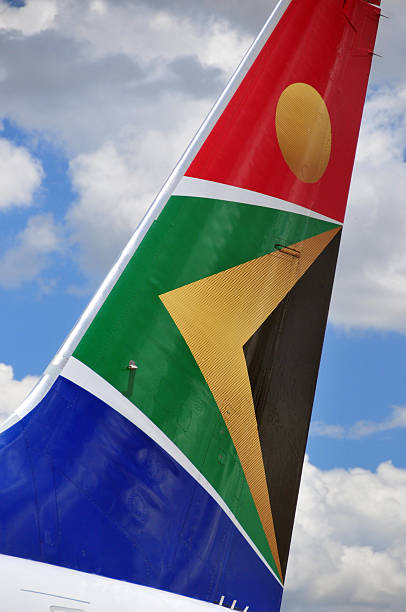 South African Airways aircraft tail stock photo