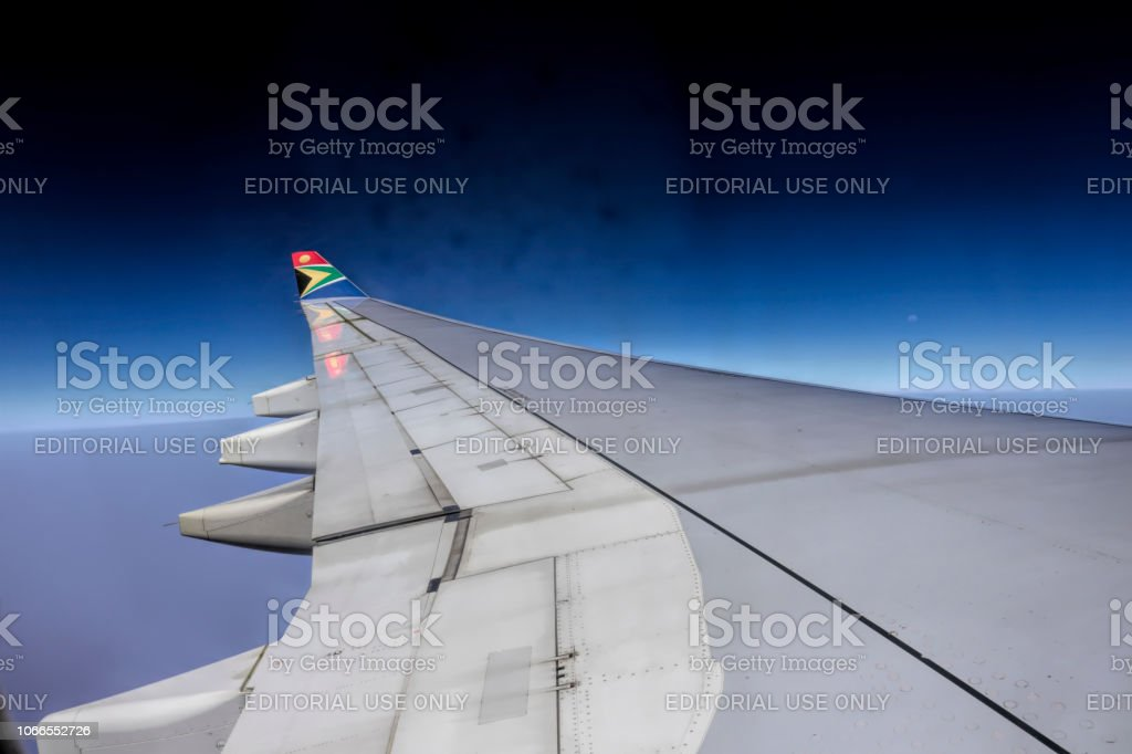 South African Ariways Airbus Industrie A330-200 wing in flight stock photo