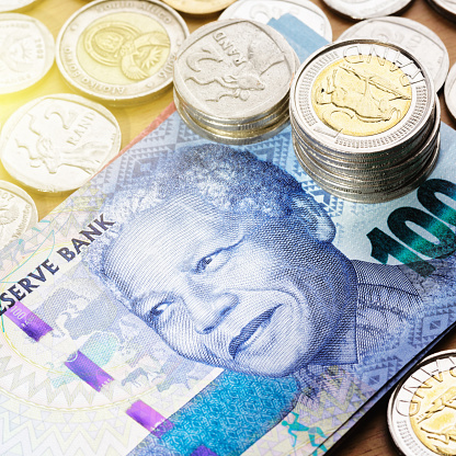 South African paper currency and coinage.