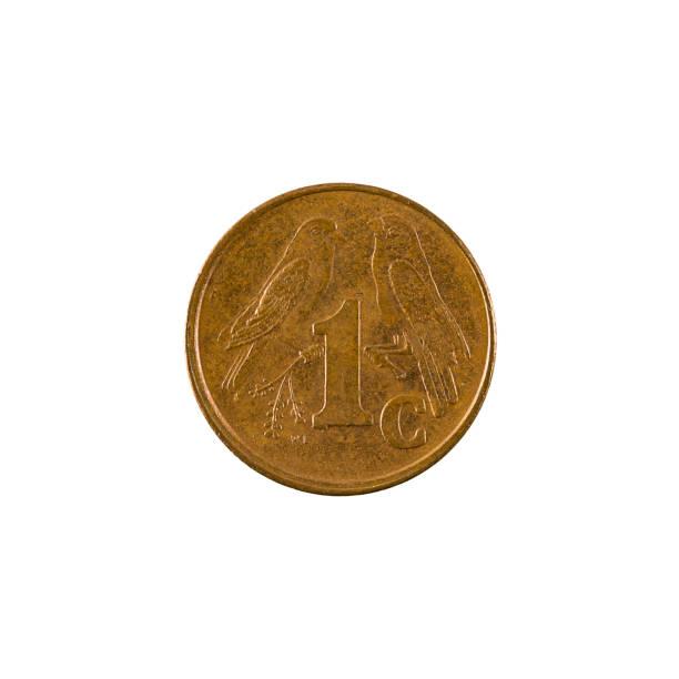 südafrikanische 1cent Münze (1999) Vorderseite isoliert auf weißem Hintergrund – Foto