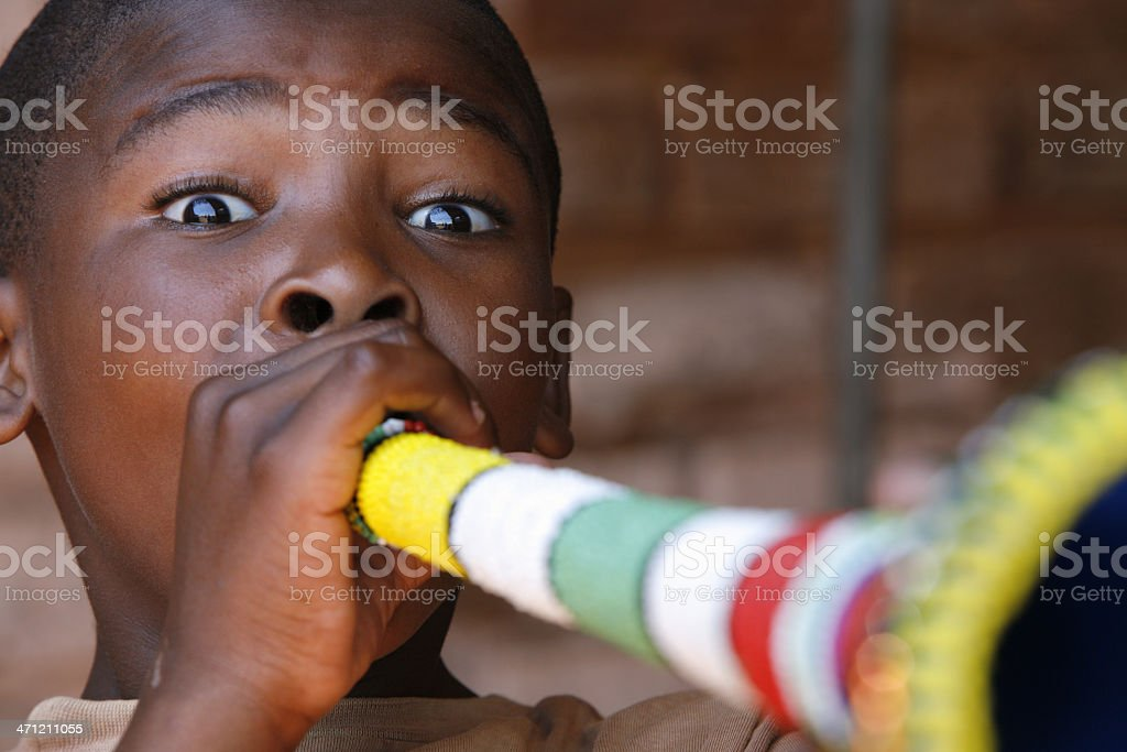 South African child with Vuvuzela royalty-free stock photo