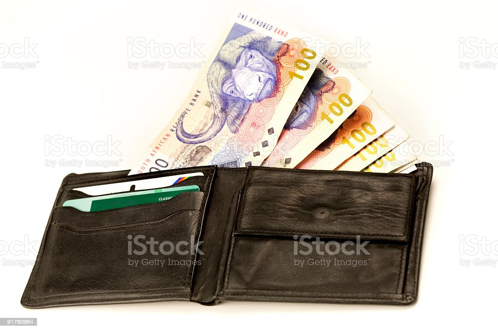 South African currency in wallet stock photo