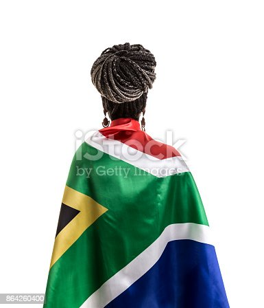South African Fan Celebrating With The National Flag Stock Photo & More Pictures of Adult