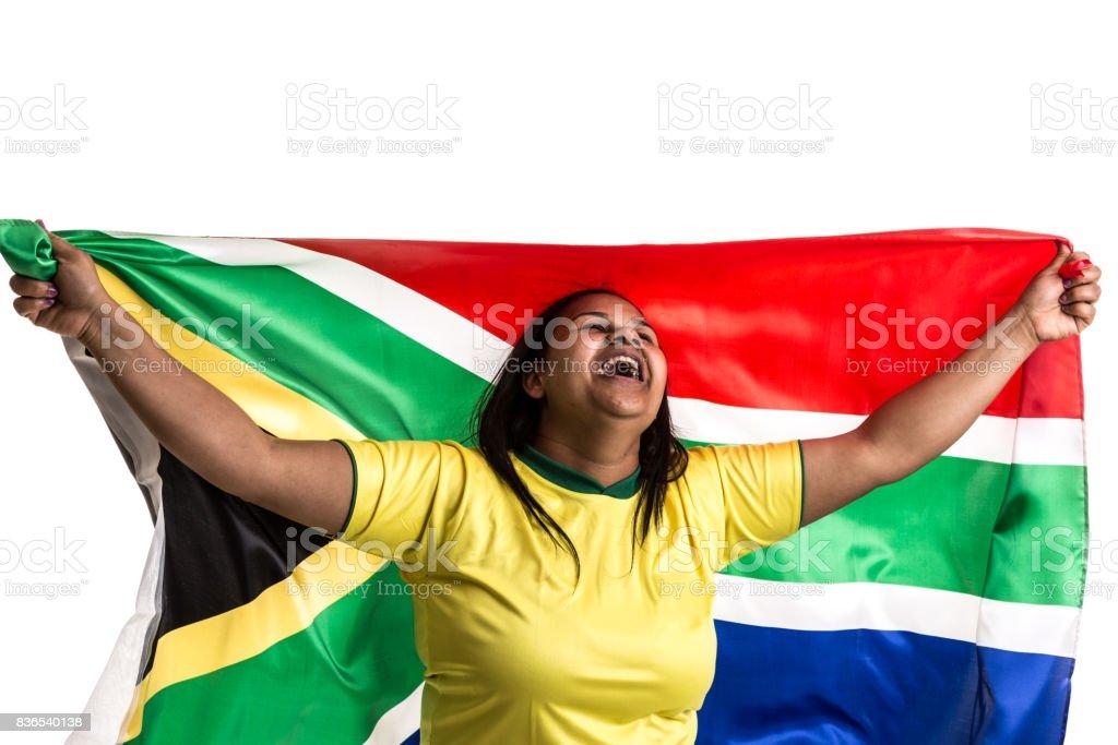 Sul-Africano fã segurando a bandeira nacional - foto de acervo
