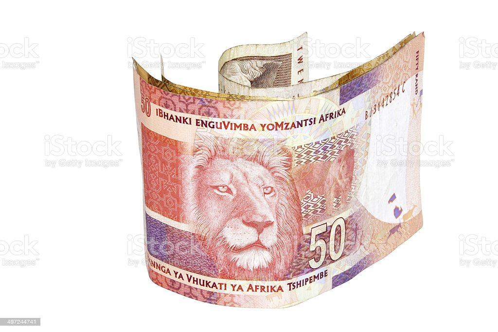 South African Fifty Rand Bank Note with Lions Head stock photo