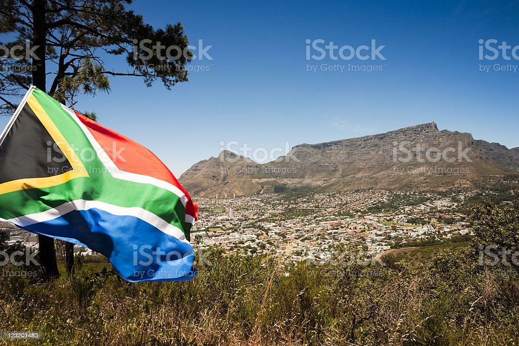 South African flag against Table Mountain, Cape Town stock photo