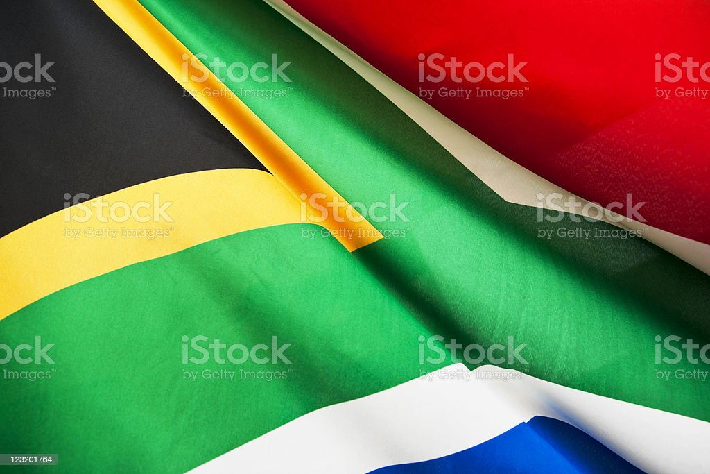 South African flag billowing royalty-free stock photo