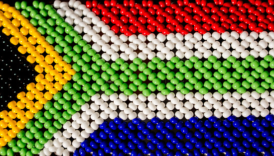 istock South African flag made from beads. 520099744