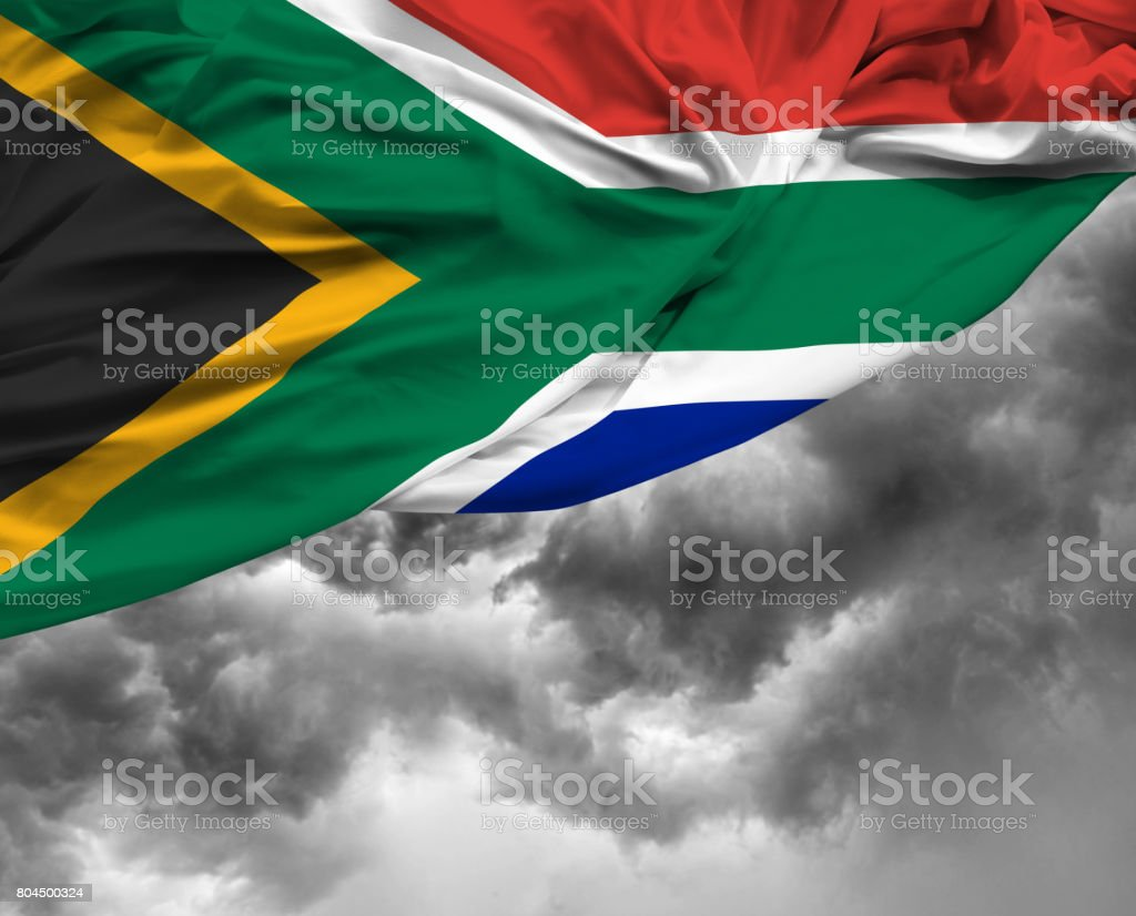 South African flag on a bad day stock photo