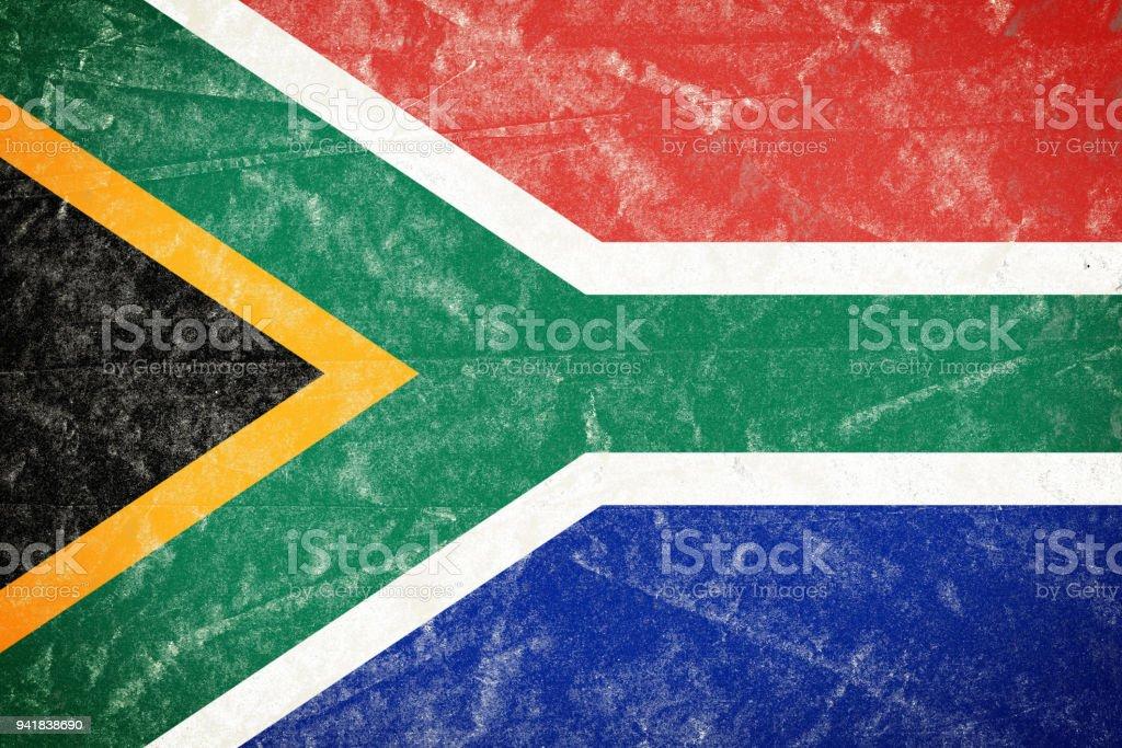 Bandeira sul-africana no Poster de papel enrugado Grunge desintegrado - foto de acervo