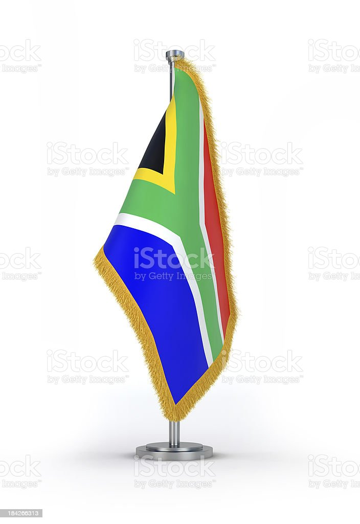 South African Flag with golden Fringe royalty-free stock photo
