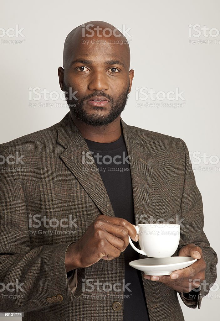 South African man drinking tea royalty-free stock photo
