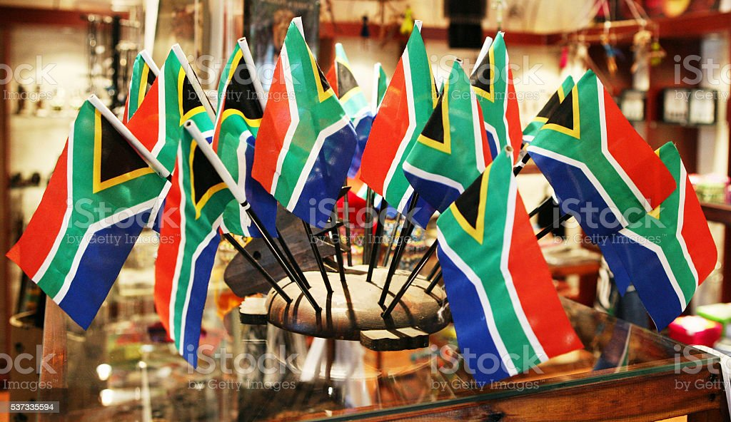 South African, national flags, curio shop, retail display, colourful, stock photo
