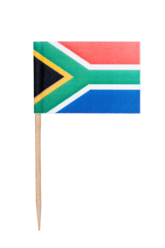 South African paper toothpick flag. Nice paper texture. Isolated on white.