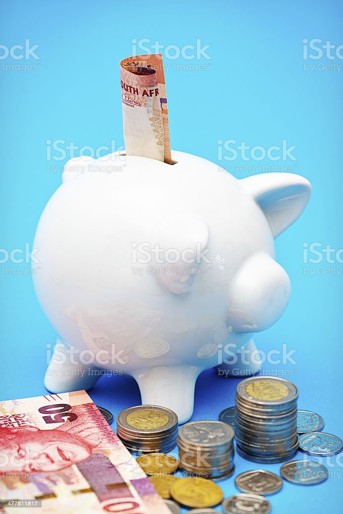 South African piggybank is saving up the Rands and cents royalty-free stock photo