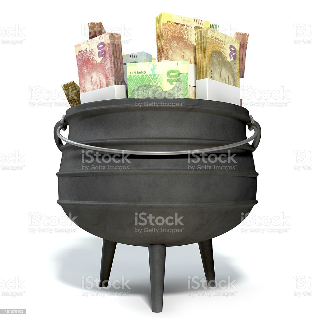 South African Potjie Filled With Rands stock photo