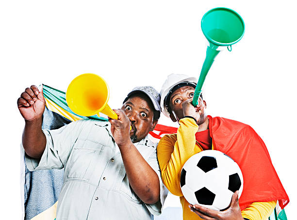 South African soccer fans stock photo