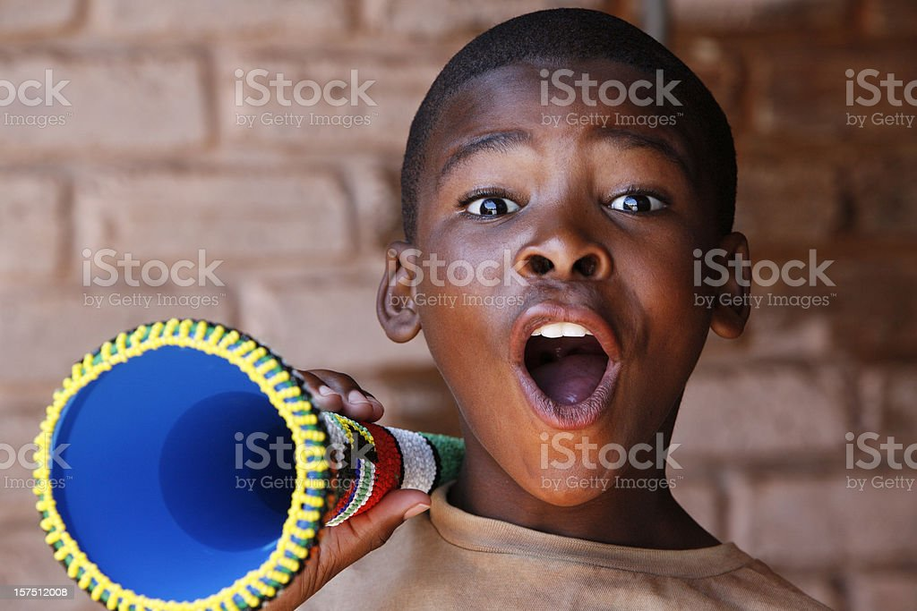 South African soccer supporter stock photo