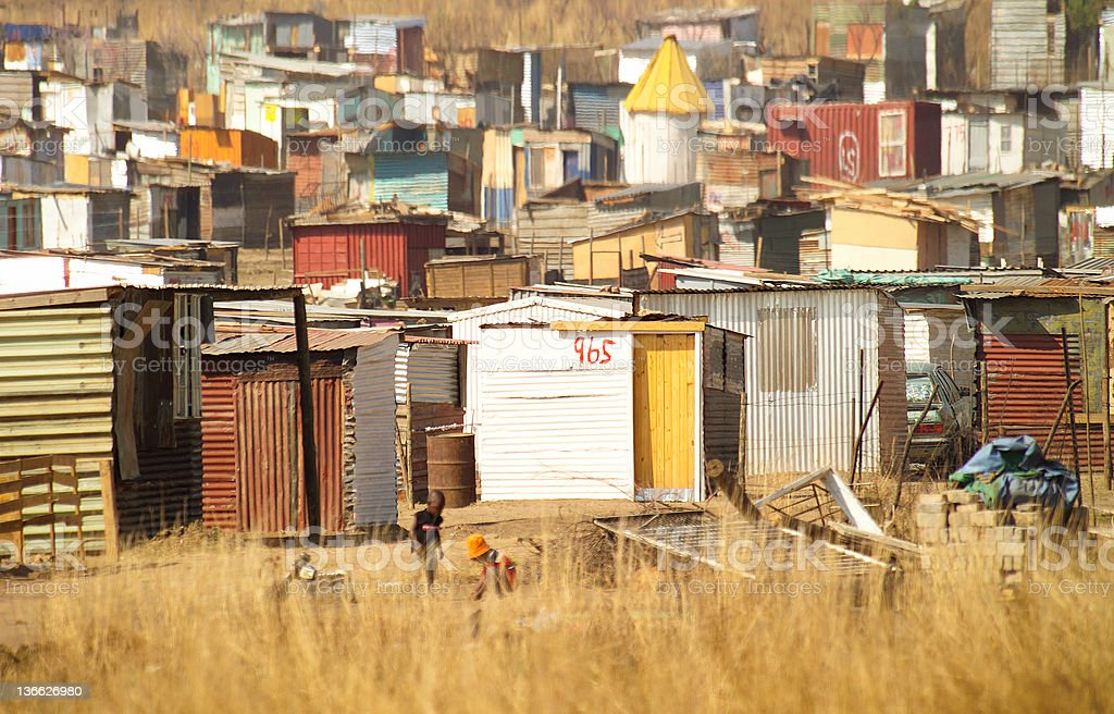 South African tin shack village stock photo