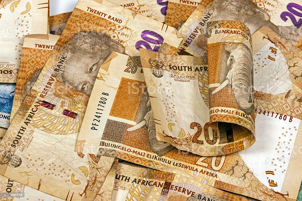 South African Twenty Rand Brown Bank Notes stock photo
