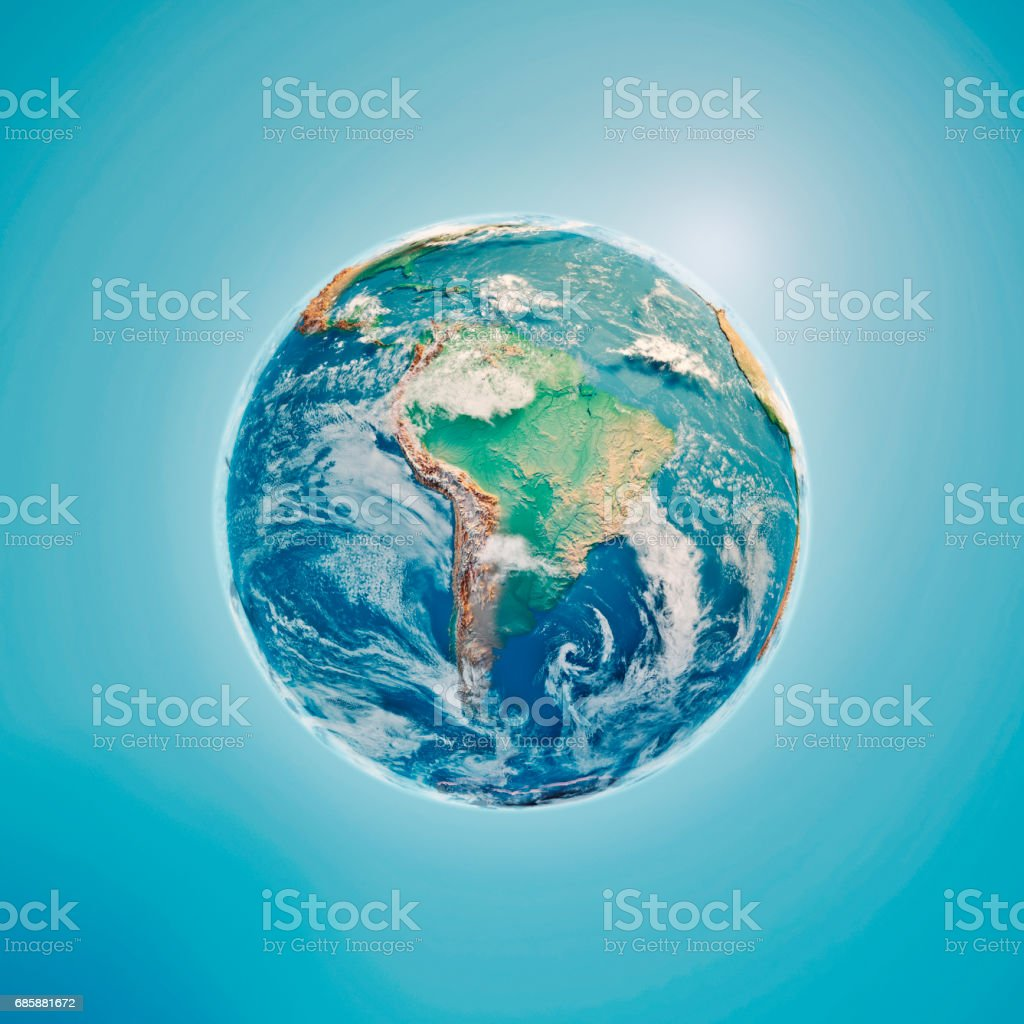 South America 3D Render Planet Earth Clouds stock photo