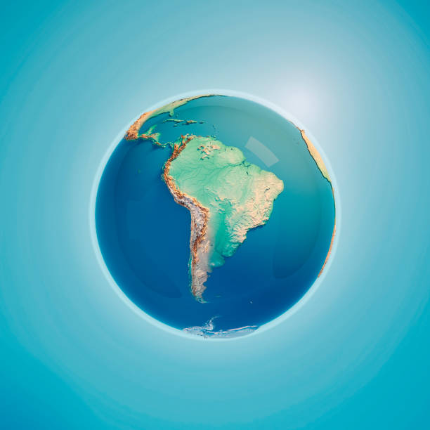 South America 3D Render Planet Earth stock photo