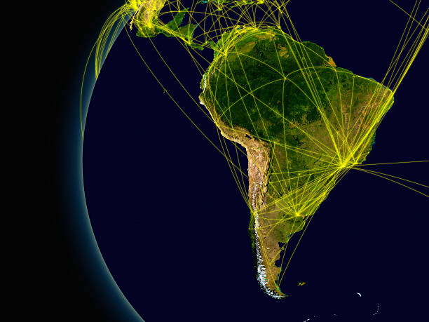 South America connections South America viewed from space with connections representing main air traffic routes. Elements of this image furnished by NASA. latin america stock pictures, royalty-free photos & images