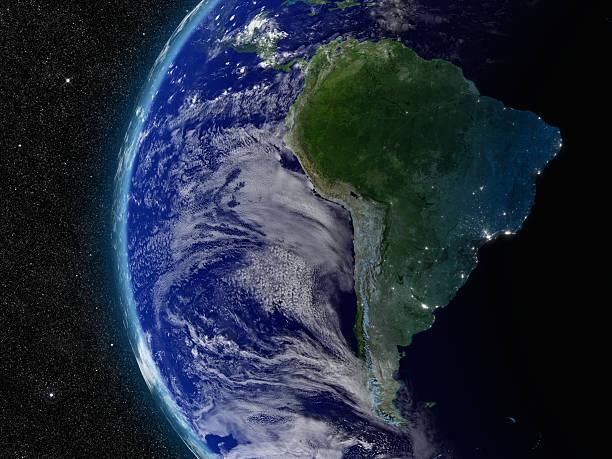 Sudamérica del espacio - foto de stock