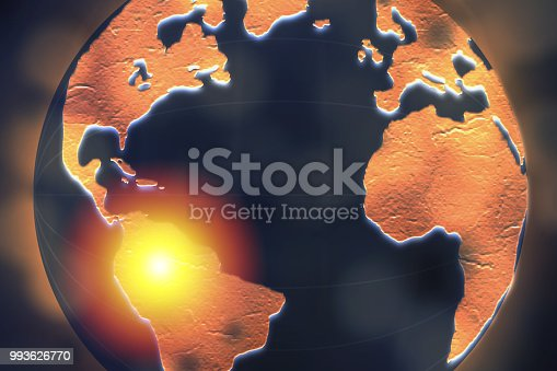 istock South America highlighted on dark globe for internet connection and worldwide connection concept. 993626770
