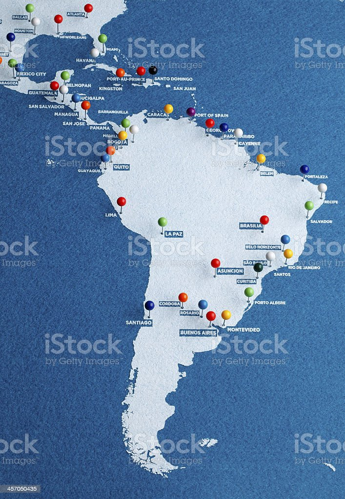 South America Major Cities Map stock photo