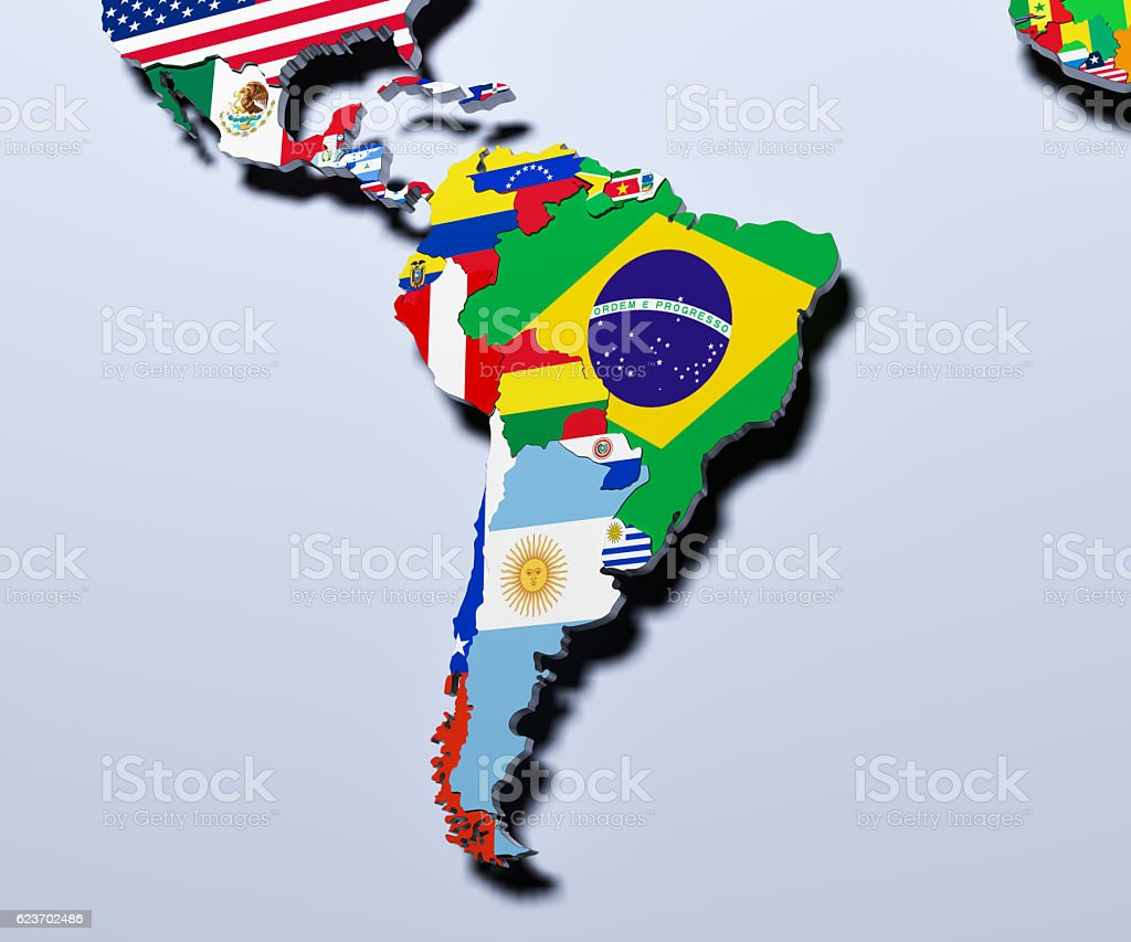 South America map 3d illustration stock photo