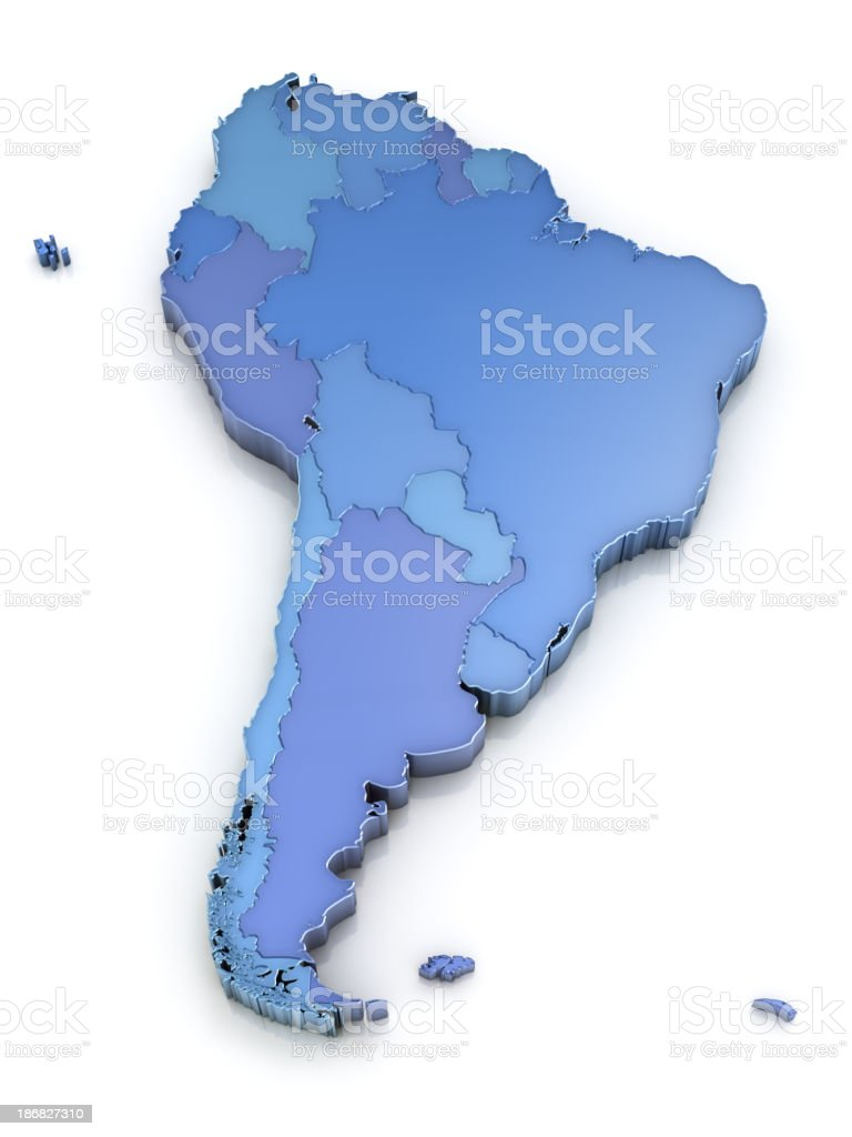 South America map with countries stock photo