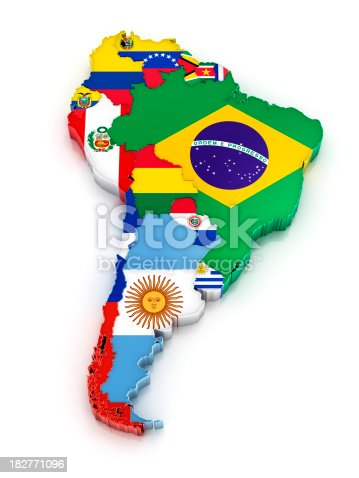 Map of South America with flags. Digitally generated 3d image. Isolated on white background.