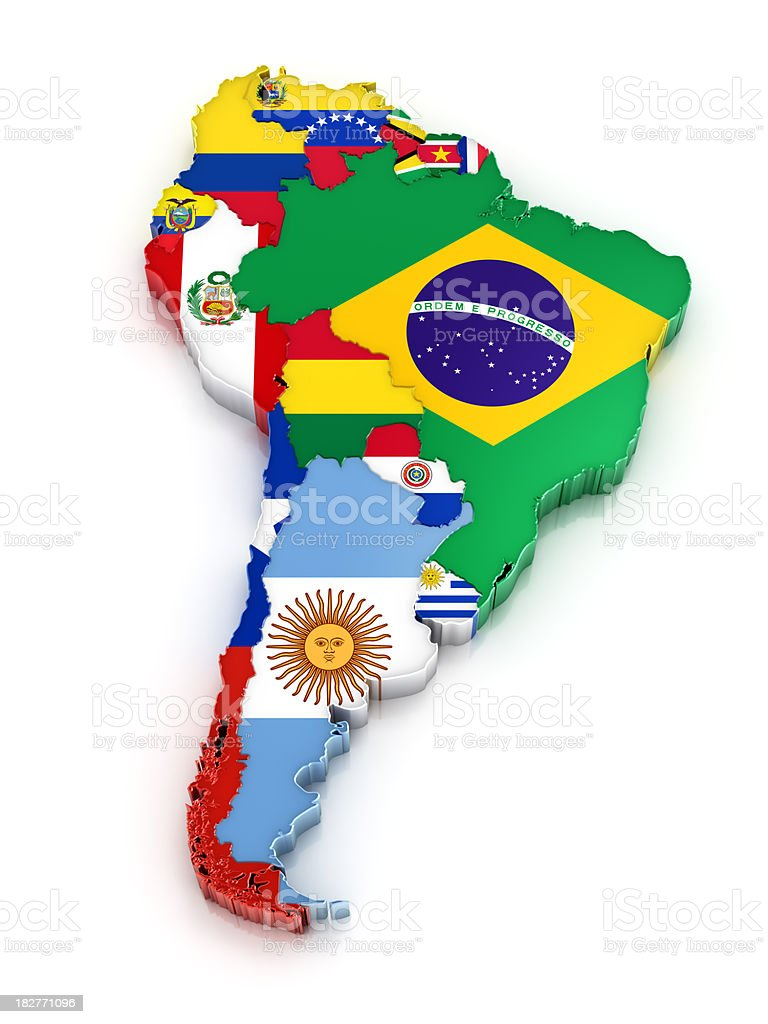 South America map with flags stock photo