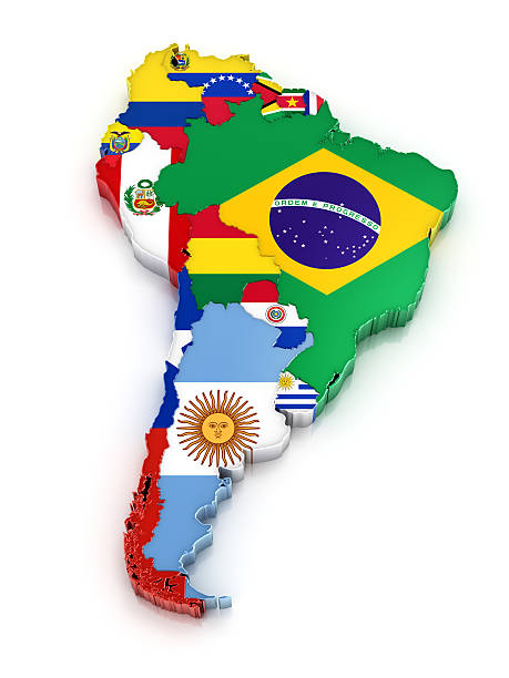 South America map with flags Map of South America with flags. Digitally generated 3d image. Isolated on white background. latin america map stock pictures, royalty-free photos & images