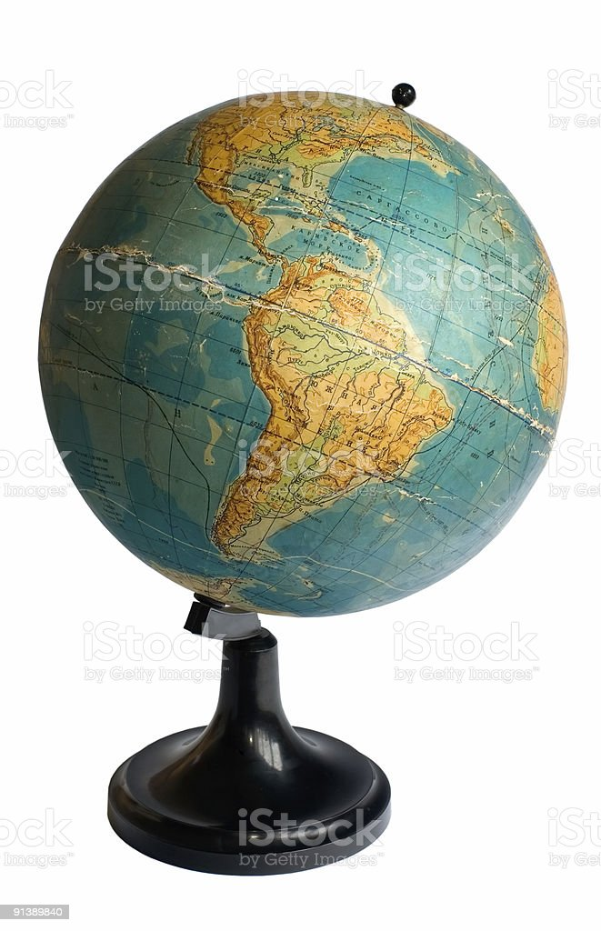 South America on an old globe royalty-free stock photo