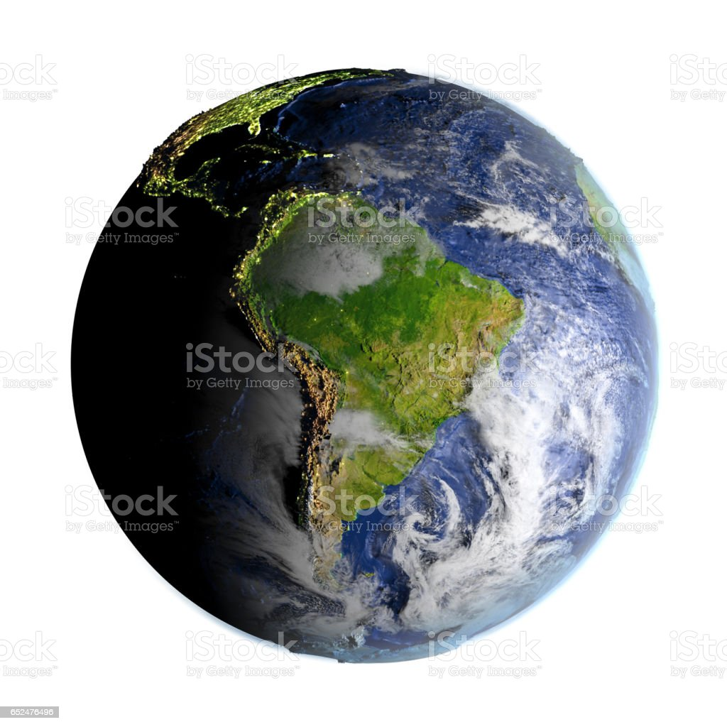 South America on Earth isolated on white stock photo