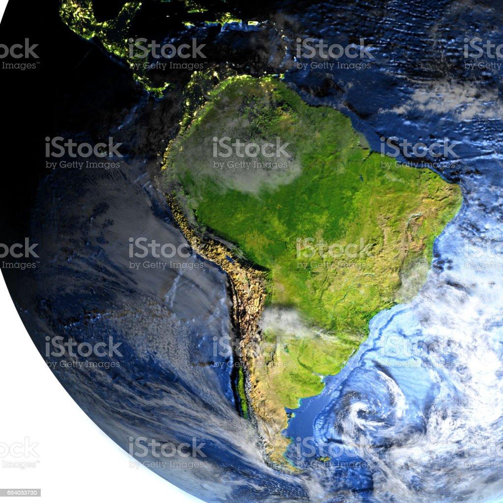 South America on Earth - visible ocean floor - foto de acervo