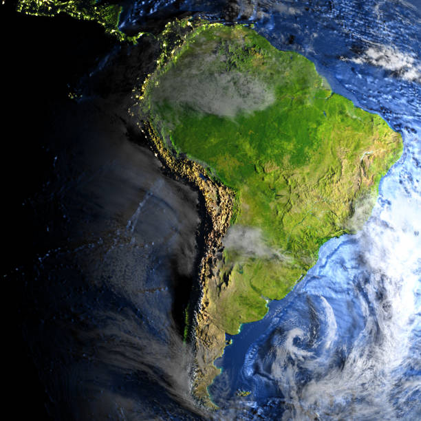 South America on Earth - visible ocean floor stock photo