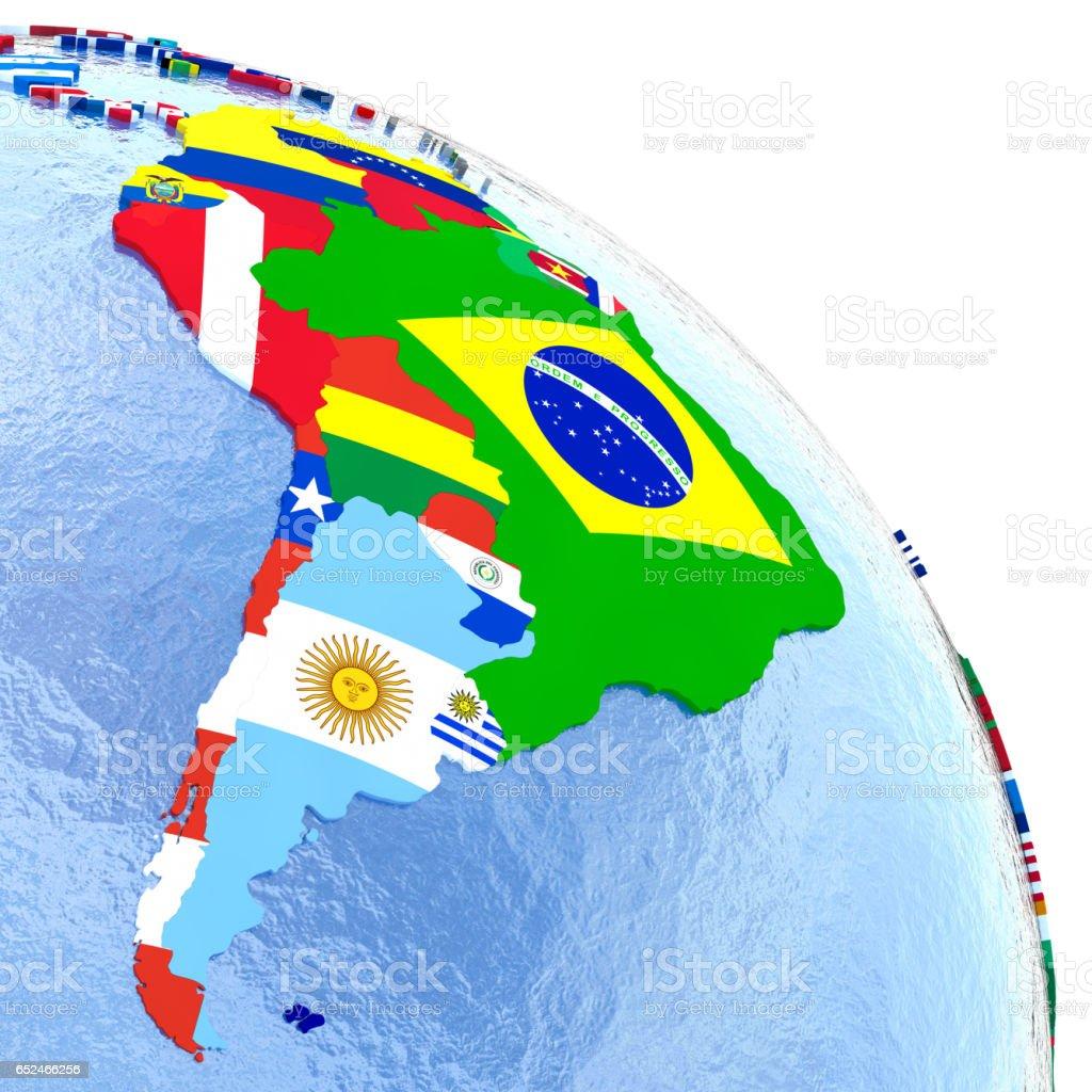 América do Sul na Globo político com bandeiras - foto de acervo