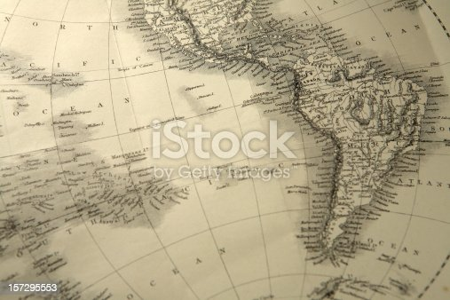 south america and the pacific from an antique world map