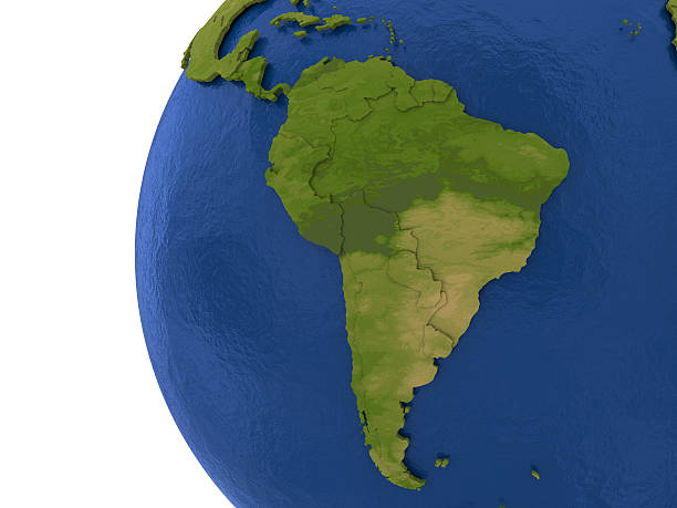 South American continent on Earth South America on detailed model of planet Earth with visible country borders on green land and waves on the ocean waters. latin america map stock pictures, royalty-free photos & images