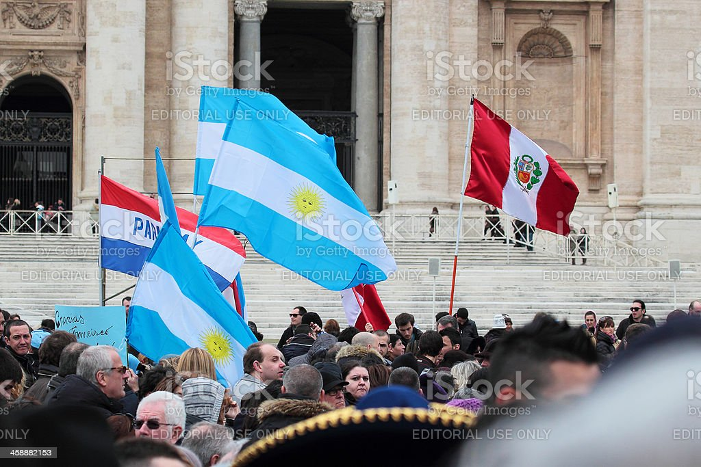 South American flags during the Angelus of Pope Francis I stock photo