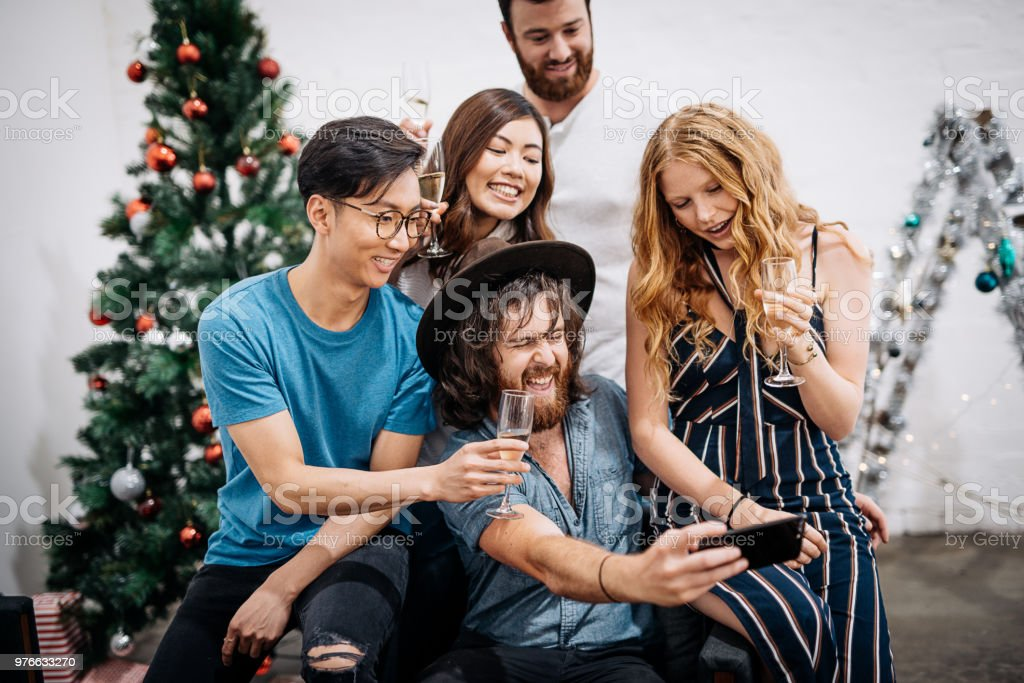 South Americans and Australians celebrating Christmas stock photo