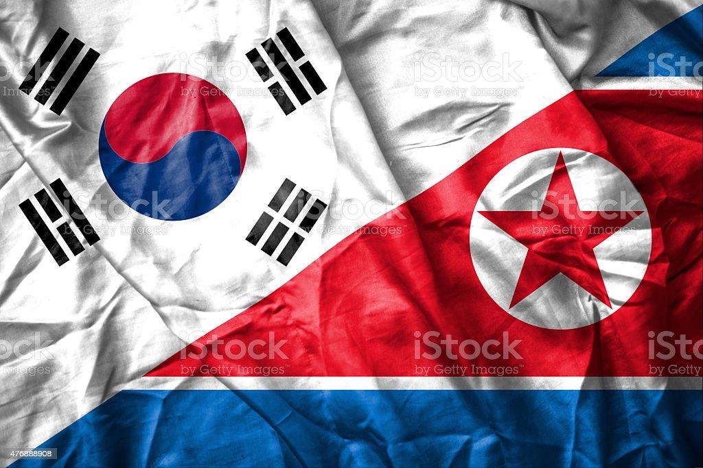 South and North Korea flag stock photo