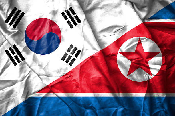 South and North Korea flag stock photo